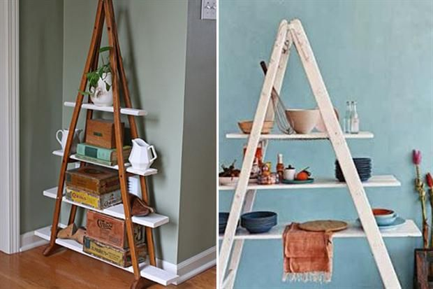 10 ideas para organizar tu cocina  Otra opción que podés implementar. La primera esta hecha con un par de muletas en desuso. La segunda con una vieja escalera y estantes del mismo color. Eso sí, no es a prueba de niños.  /Visit ecomaniablog.blogspot.com.es, <a href='http://www.handimania.com/craftspiration/'>http://www.handimania.com/craftspiration/</a>