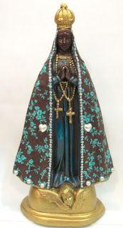 Ateliê Le Mimo: RELIGIOSO Nossa Senhora Aparecida 40cm Revestida com tecido Peça em gesso