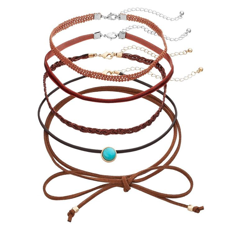Mudd® Tie On, Simulated Turquoise & Velvet Choker Necklace Set, Women's, Brown