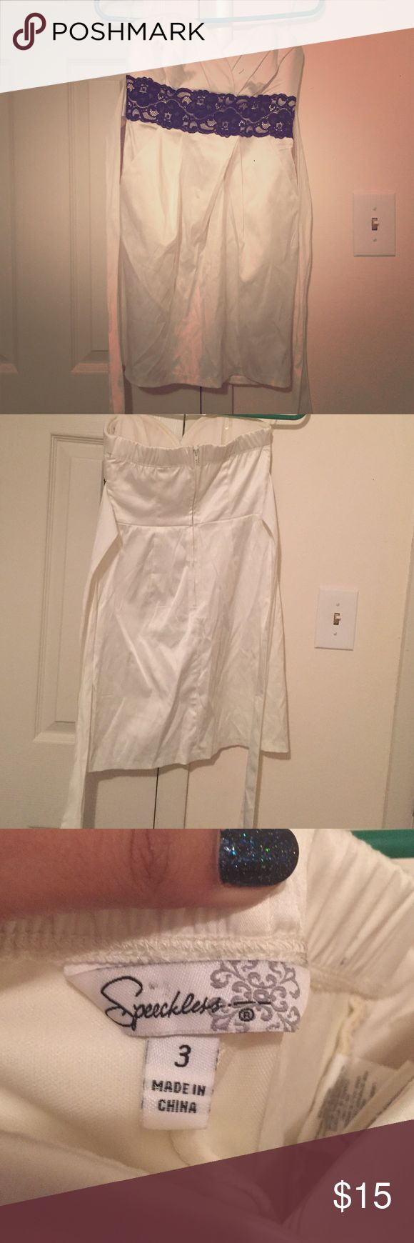 Strapless cream colored dress Size 3. Lace belt Dresses Strapless