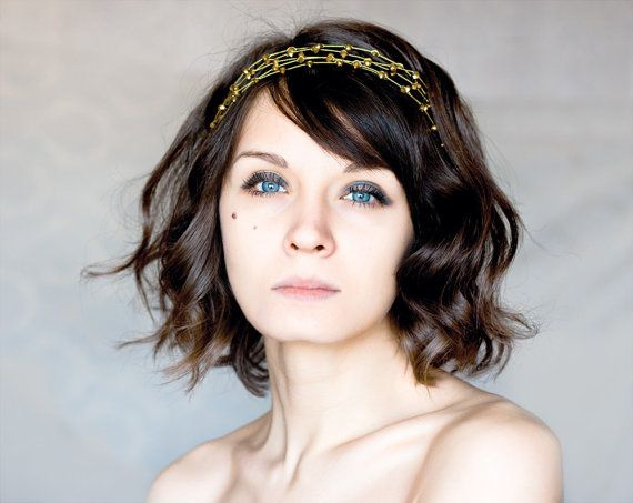 Gold headband Grecian hair accessories Christmas hair by ArsiArt, $35.00