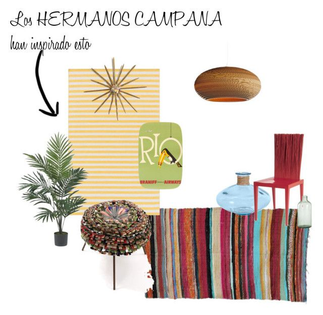 """""""HERMANOS CAMPANA inspired this"""" by tarekzg on Polyvore featuring interior, interiors, interior design, hogar, home decor, interior decorating, Surya, Graypants, Imperfect Design y Nearly Natural"""