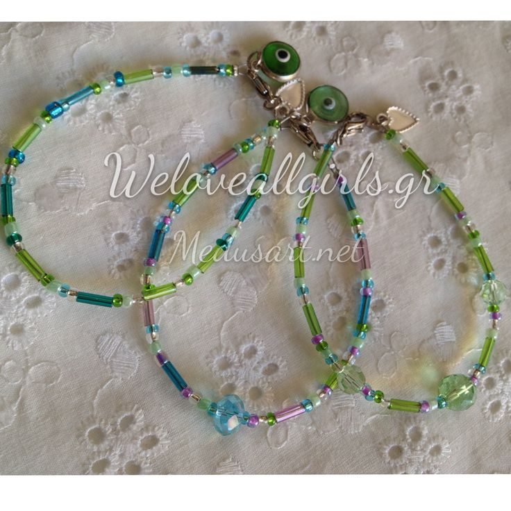 Fresh & beautiful vert d'eau beaded charm bracelets by Medusart