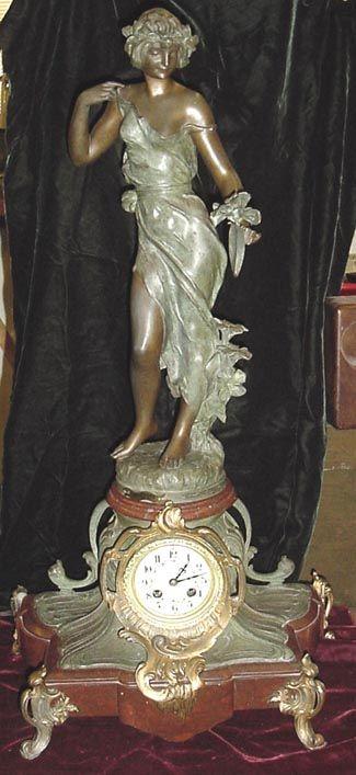 ART NOUVEAU STATUE CLOCK BY J. CAUSSE