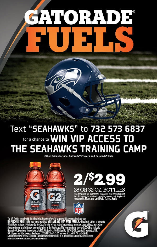 Seahawks and Gatorade text to win promotion