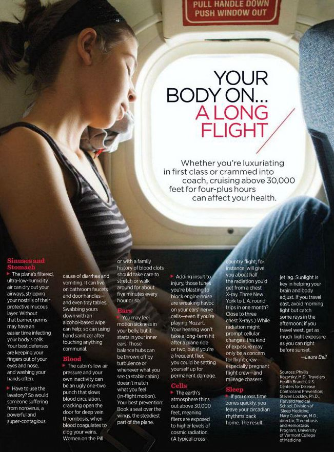 your body on a long flight