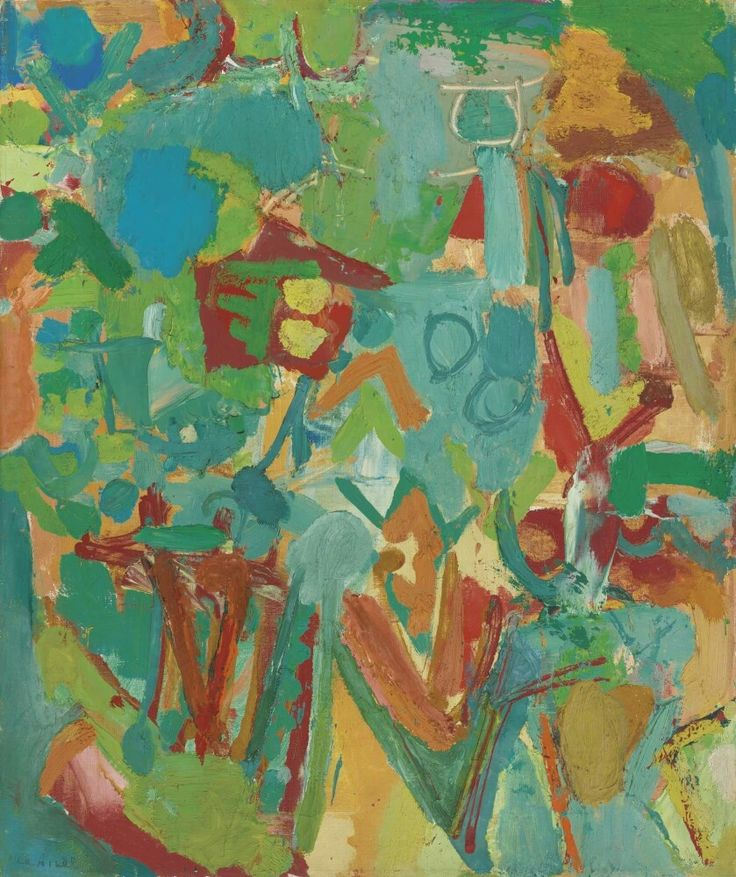 Lea Nikel (Israeli artist) 1918 - 2005 (Hebrew: אה ניקל) Untitled, 1966 oil on canvas 55.3 x 46.3 cm. (21.75 x 18.25 in.) signed Lea Nikel (lower left); signed LEA NIKEL and dated 1966 (on the reverse)