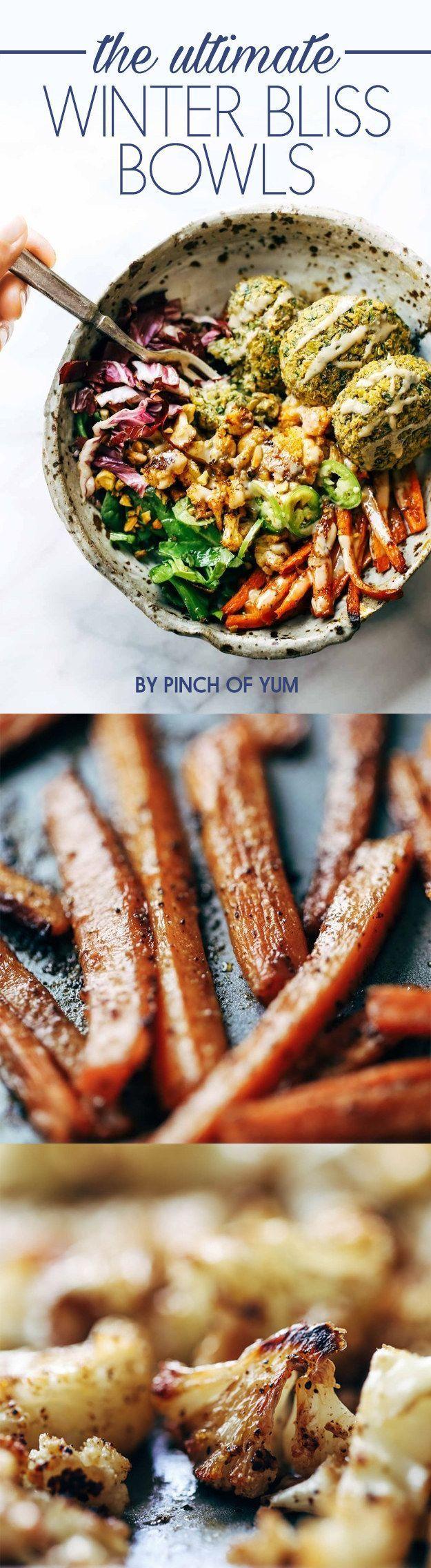 Recipe // Carrots + Cauliflower + Jalapeno + Red Cabbage + Spinach + Tahini + Salt + Pepper + Olive Oil + Cumin + Pistachios + Falafel