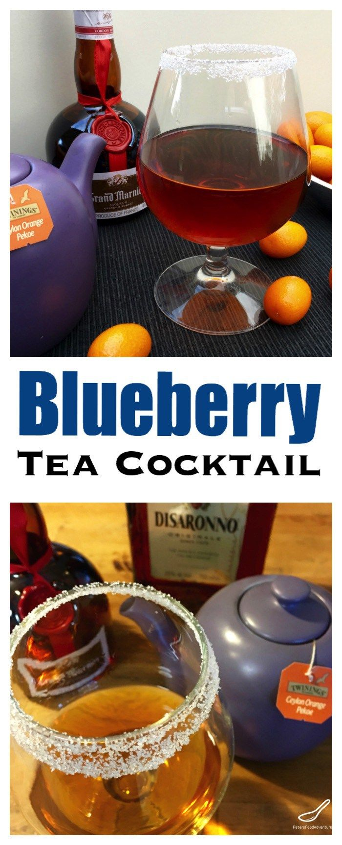 Grand Marnier, Amaretto and Orange Pekoe tea tastes fruity, with a hint of blueberries. This hot tea cocktail is a variant of a hot toddy.