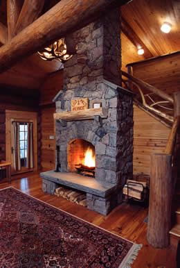 cabin fireplace | Log Cabin Adirondack Luxury Cabins Adirondack Upscale Lodge