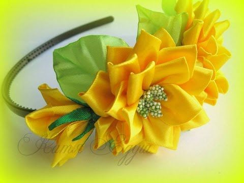 DIY Kanzashi Flower, Ribbon Satin - YouTube