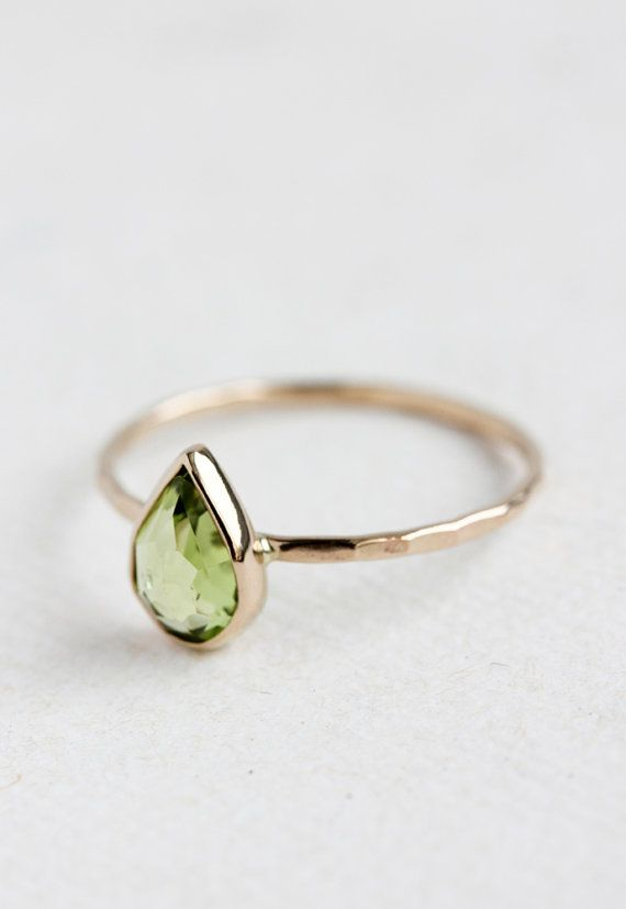 Peridot gold ring, August birthstone, teardrop, rose cut, pear cut, solid 14k gold thin stacking ring, eco friendly, birthstone jewelry { D e