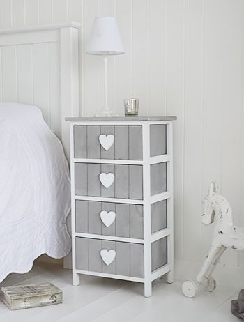 Heart Cottage grey and white chest of 4 drawers  for bedside cabinet - shabby chic bedroom furniture. The White Lighthouse offers a range of furniture and accessories with a combination of Coastal, Scandi, Danish, French, Shabby Chic and New England styles