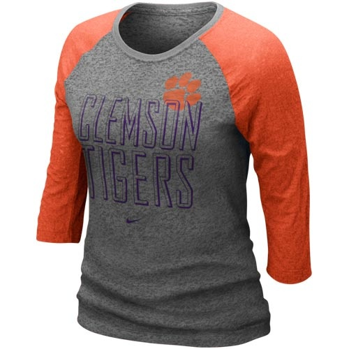 Clemson Tigers Ladies Burnout Three-Quarter Sleeve Raglan Premium T-Shirt