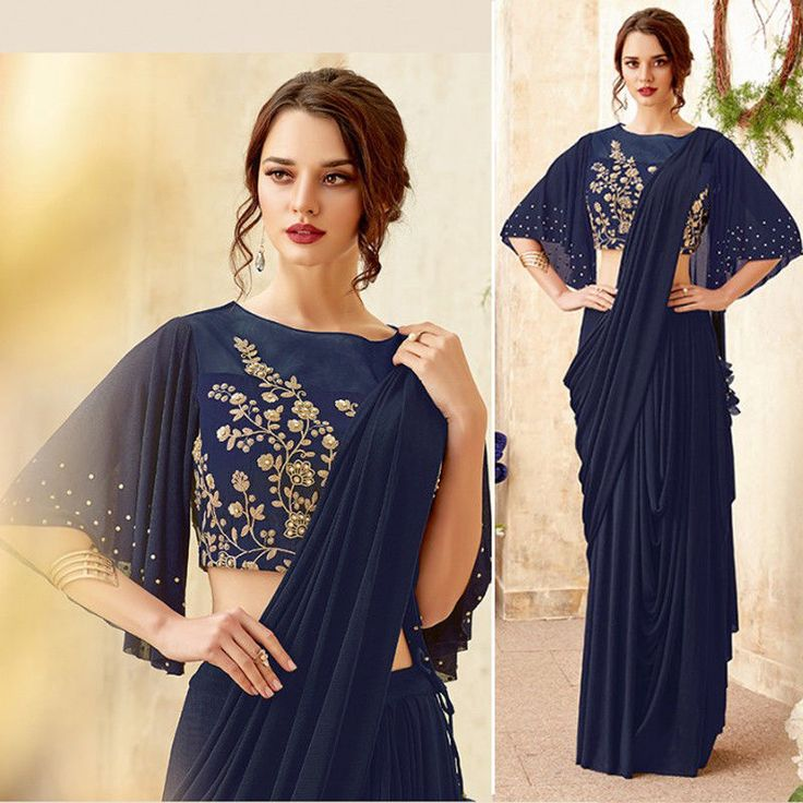 Details about Party wear Designer Drape saree Material for women ethnic Indian Saree Blouse 11