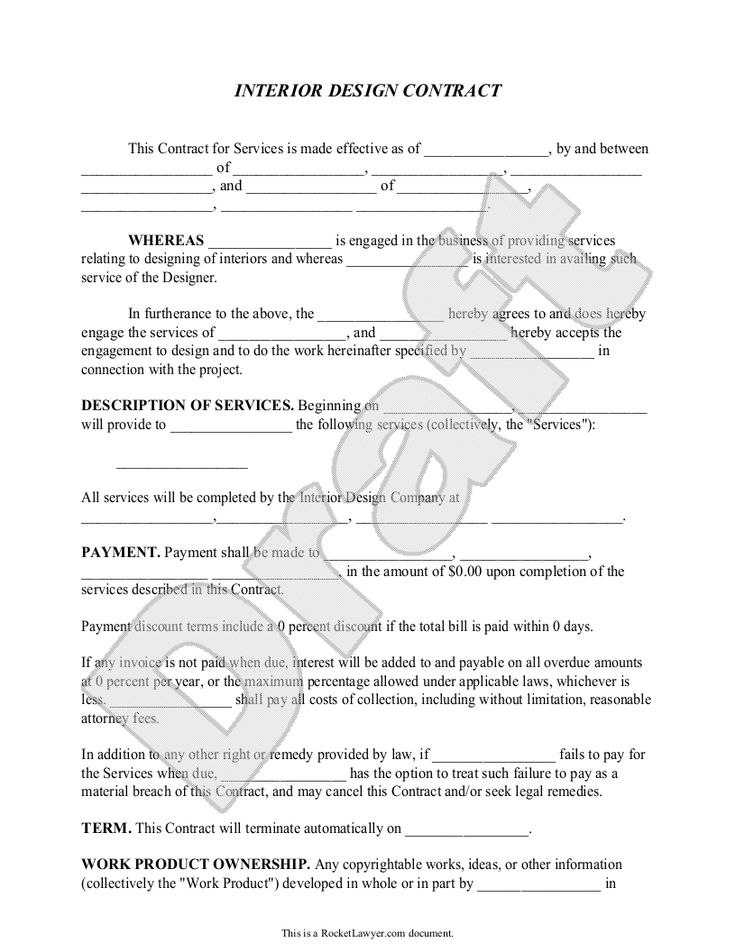 interior design contract agreement - Template