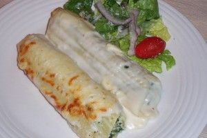 SPINACH AND CHICKEN STUFFED MANICOTTI WITH LITE ALFREDO SAUCE.  MY SON MADE THIS AND IT WAS EXCELLENT!
