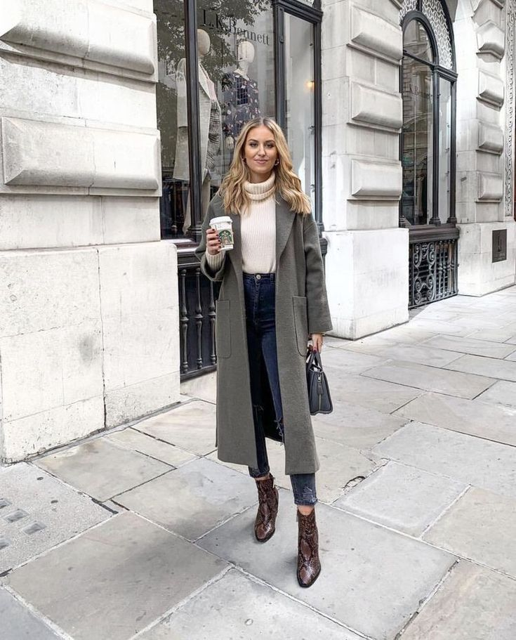 boots high waisted jeans white turtleneck sweater grey long cardigan coat