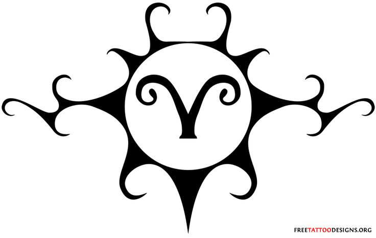 aries tattoo designs | Aries Symbol Tattooed On Backblack Tribal Tattoo Design Idea For Men