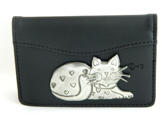 Leather credit card case cat motif £14.00