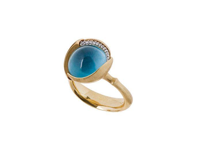 Dänische Handwerkskunst aus Familientradition begeistert alle - Ole Lynggaard: Ring Lotus London blau Topaz, 13 Dia A2652-423