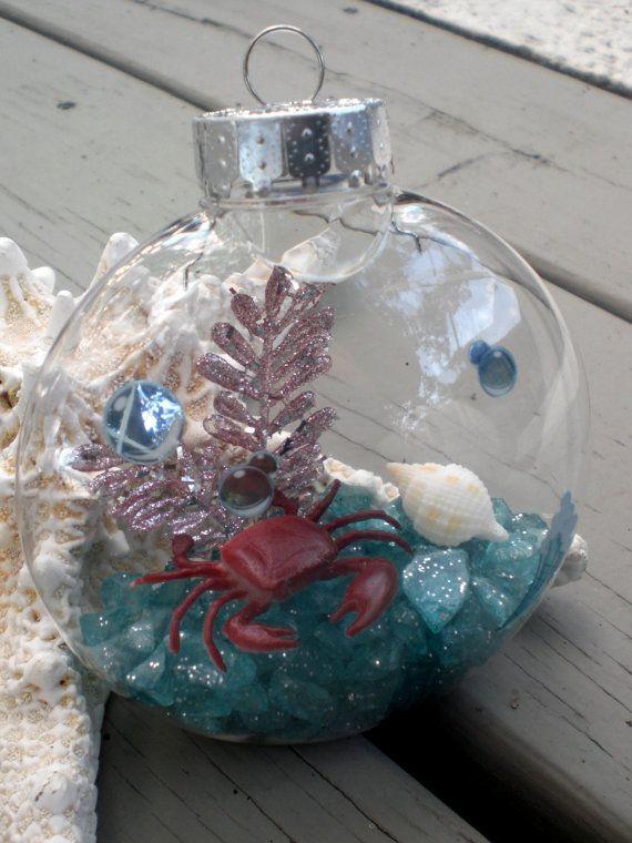 Under the Sea beach Christmas ornaments - ocean aquarium Xmas - octopus crab