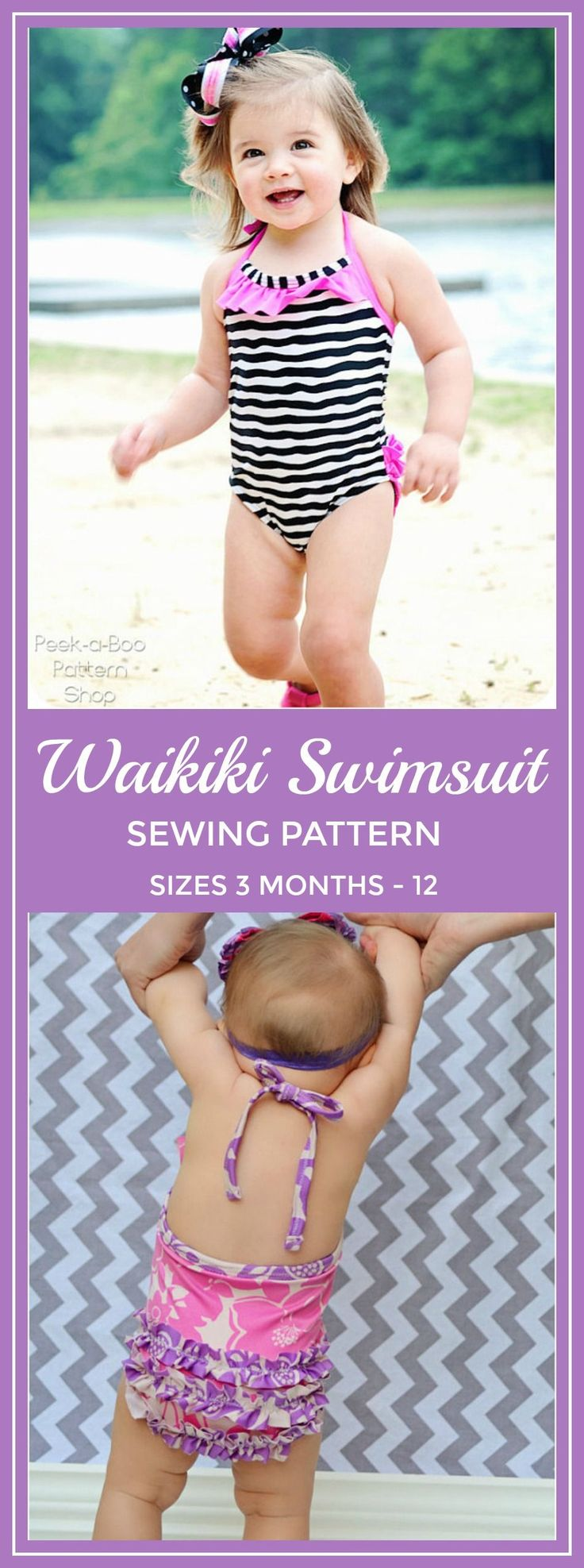 Waikiki One-Piece Swimsuit: Girls Swimsuit PDF Pattern, Baby and Toddler Swimsuit Pattern #sewing #sewingpattern #swimsuit #affiliate #swim