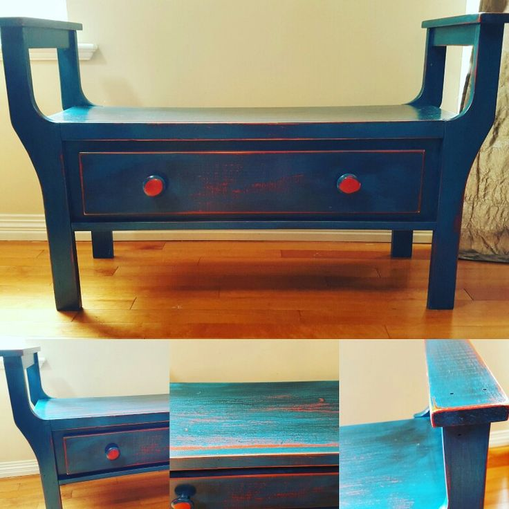Chalk paint with veneer, bench and De-stressed. DIY plaster of Paris chalk paint.
