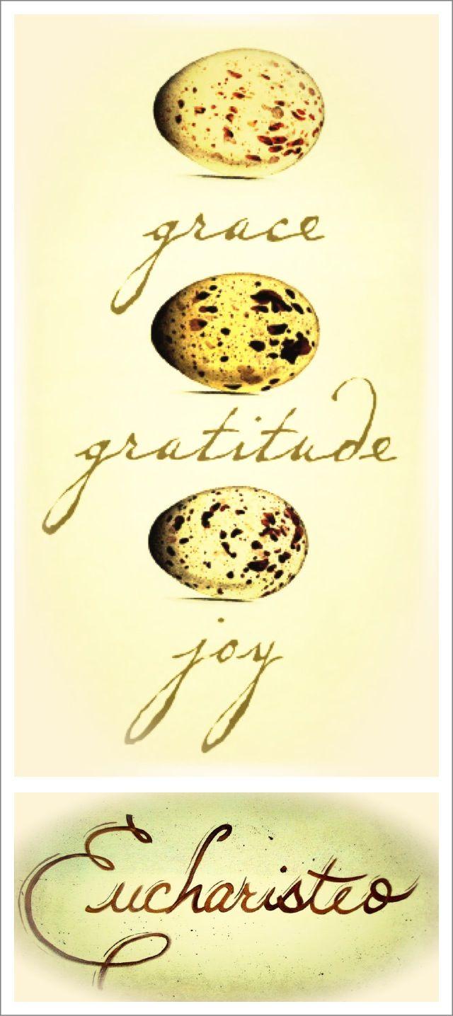 Grace, gratitude, joy---eucharisteo. Quote ~ Ann Voskamp, One Thousand Gifts