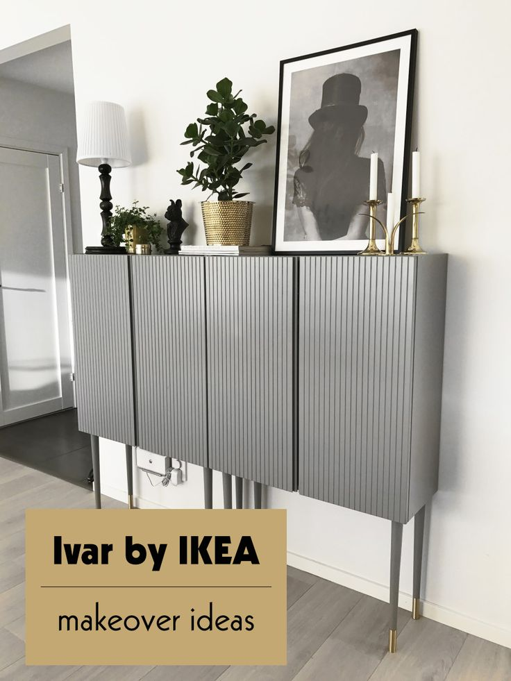 5 fantastic makeover ideas, Ivar cabinet, IKEA hack, paint cabinet, grey cabinet, brass details
