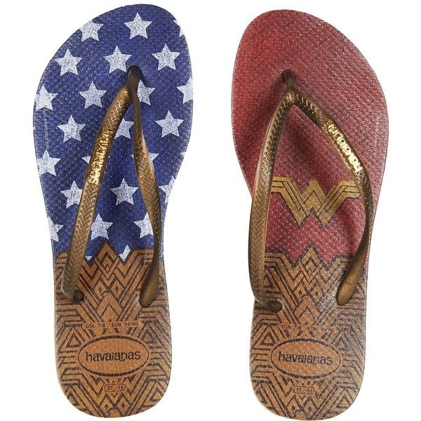Havaianas Slim Wonder Woman Flip-Flops (Rose Gold) Women's Sandals ($30) ❤ liked on Polyvore featuring shoes, sandals, flip flops, rose gold flip flops, rose gold shoes, monk-strap shoes, round toe shoes and strappy sandals