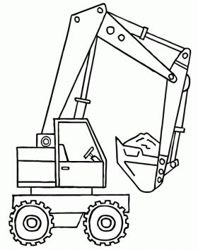 A backhoe with the shovel full of material coloring page