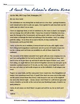 this fantastic resources features a beautiful and moving letter written by a civil war soldier. Black Bedroom Furniture Sets. Home Design Ideas