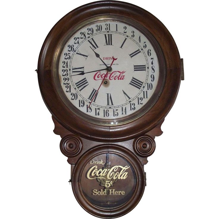 #Rubylane @rubylanecom  RARE Coca Cola * Detroit Bottling Co. Advertiser Calendar Date Clock in a Solid Walnut Wood Case made By the E. Ingraham Clock Co. !!! CIRCA 1912.