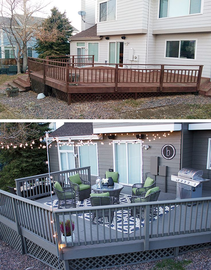 Look at this deck makeover before and after! Katy Byrne of DBK: Designs By Katy shows how easy it is to make a big impact on your outdoor space. Fresh paint, string lights and new patio furniture made all the difference on her back deck. See her patio makeover on The Home Depot Blog. || @KatyByrneDesign