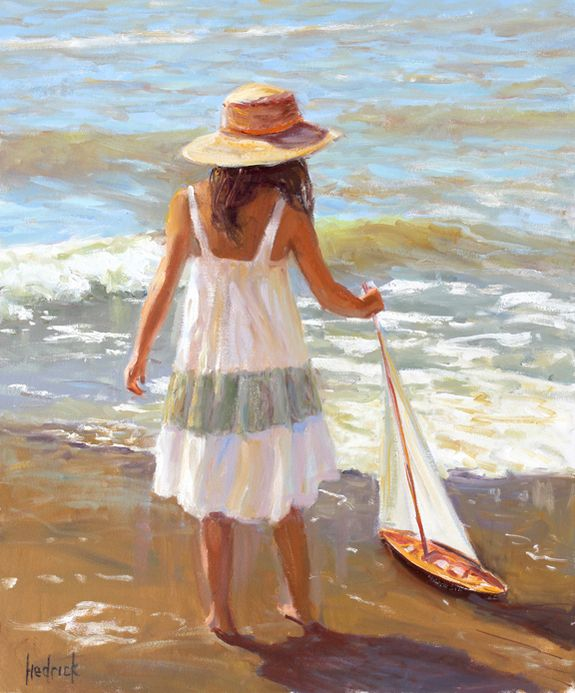 Girl with a Sailboat by artist Ron Hedrick