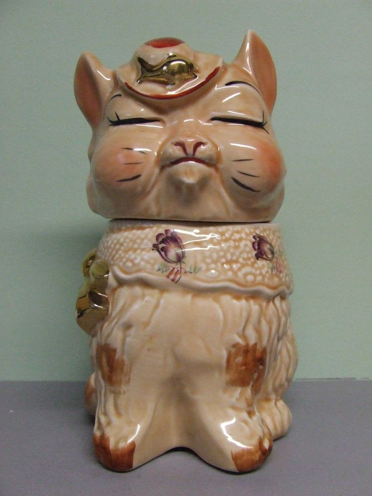 RARE/VHTF Vintage Regal China Cat(like Shawnee)w/Gold & Flower Decals Cookie Jar