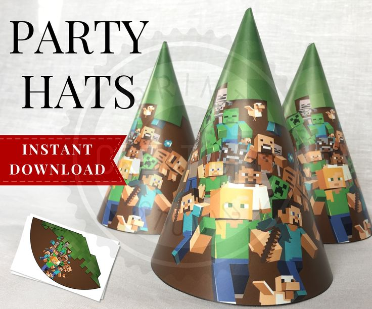 Printable Minecraft Party Hats perfect for your Minecraft Birthday Party! These Minecraft Party Hats are simply adorable and so easy to make, just print and cut!
