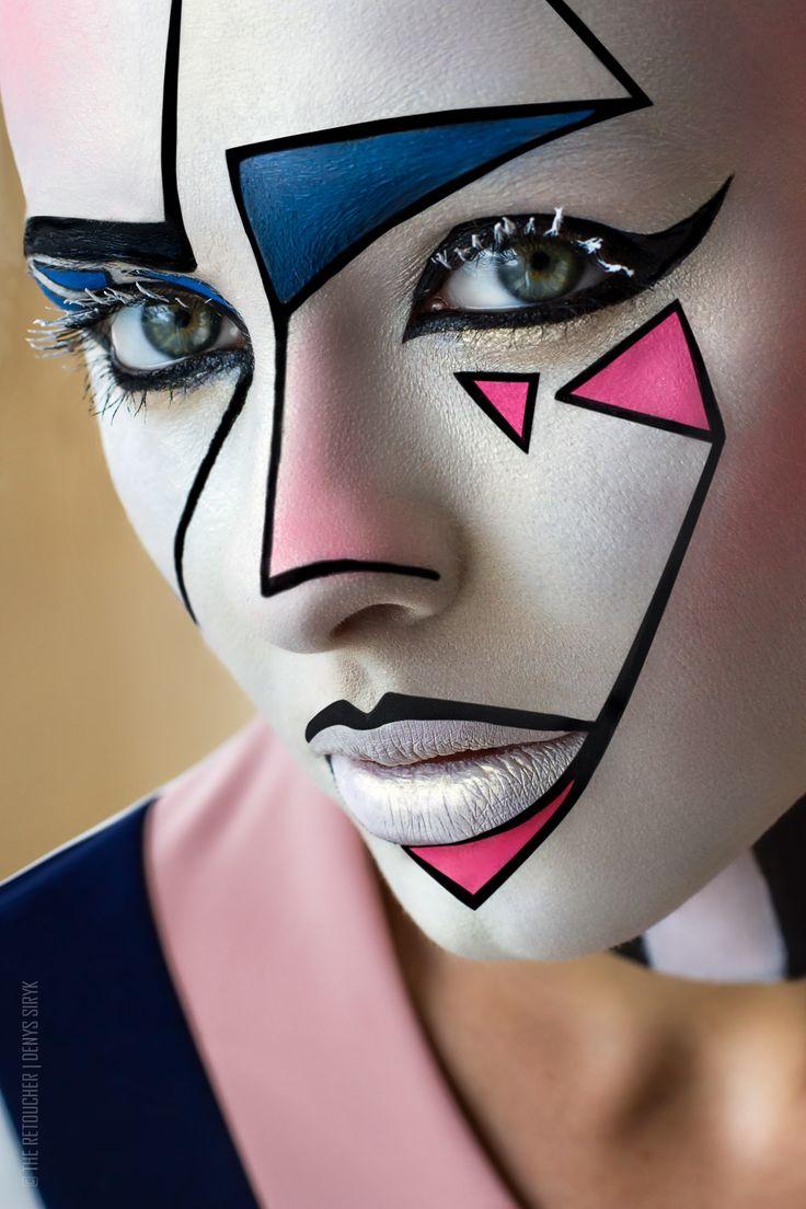 Видео-урок: Как сделать креативный макияж в графическом стиле? Работа на аквагриме.