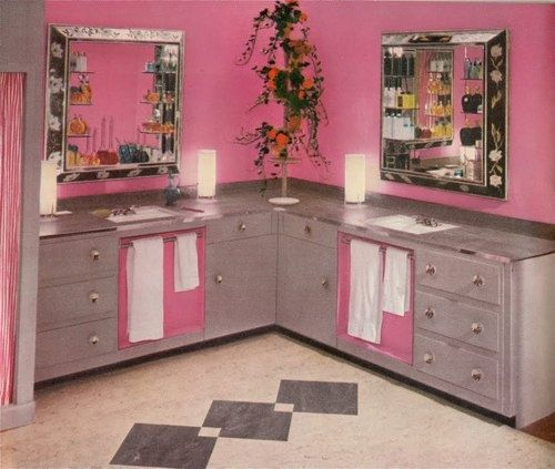 1950s pink bathroom