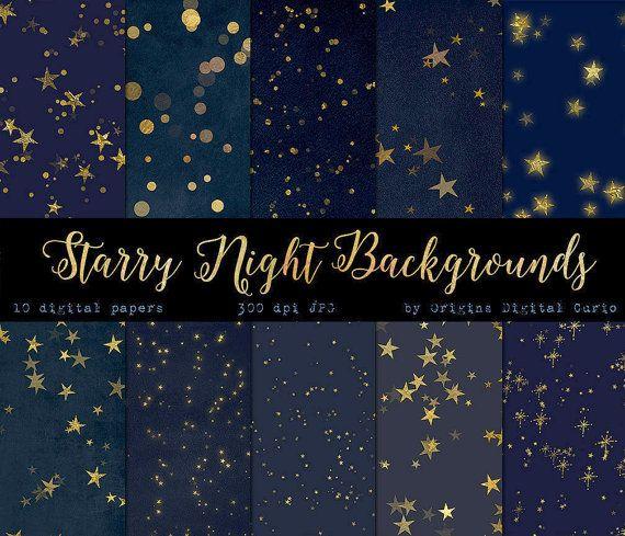 Starry Starry Night Digital Paper Backgrounds, Celestial Digital Paper, Gold Stars Midnight Scrapbook Paper, Star Patterns, Night Sky paper