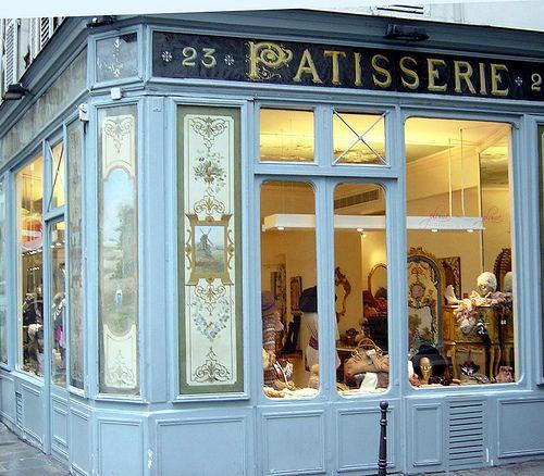 Blue 'Patisserie': Le Marais ~ Paris  Original shop front has been maintained even tho the store is no longer a patisserie.  On the corner of rue des Francs-Bourgeois and 21 rue de Sevigne in Le Marais.