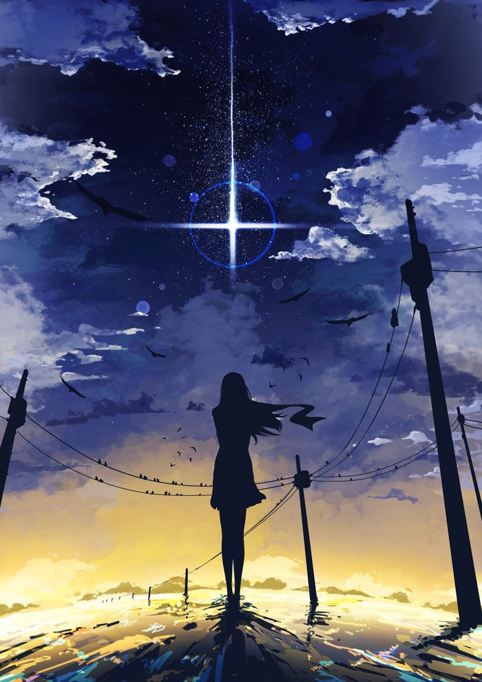 Anime girl looking at star