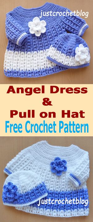 crochet angel dress-hat, a free crochet pattern for a 3-6 month baby, made in a worsted weight #3 yarn on a 4.50mm crochet hook.....................