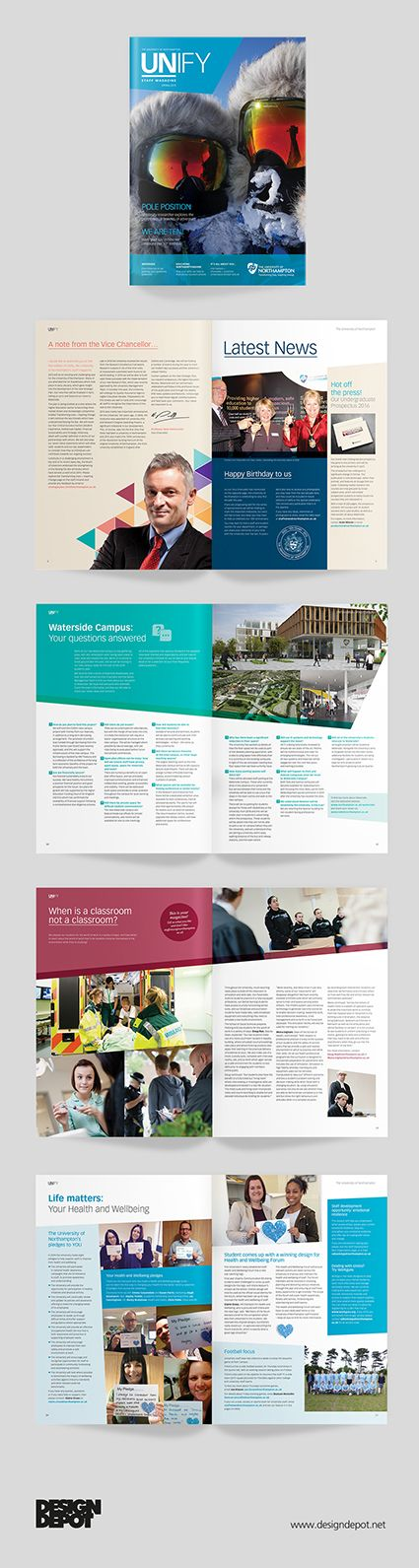 Northampton University prospectus, artwork, magazine, Unify, identity, branding, design depot, education, graphics, Northamptonshire, #DesignDepot