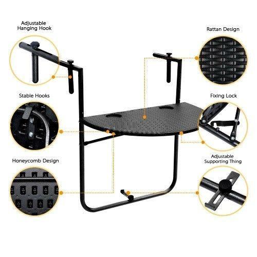 Balcony Small Table Folding Black Hanging Desk Adjustable Home Furniture Hooks #SmartDealsMarket