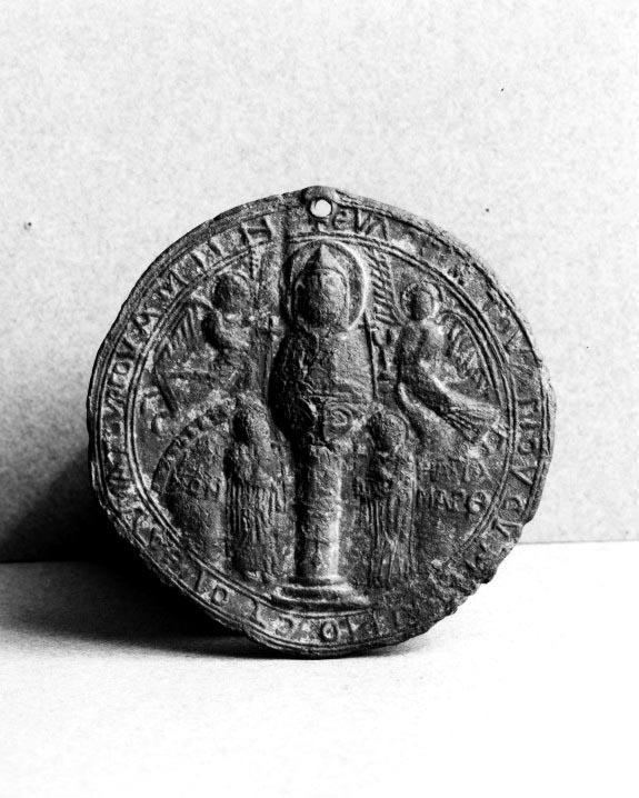 Medalion reprezentând în centru pe Sfântul Simeon din Muntele Minunat încununat de către arhangheli | Doxologia