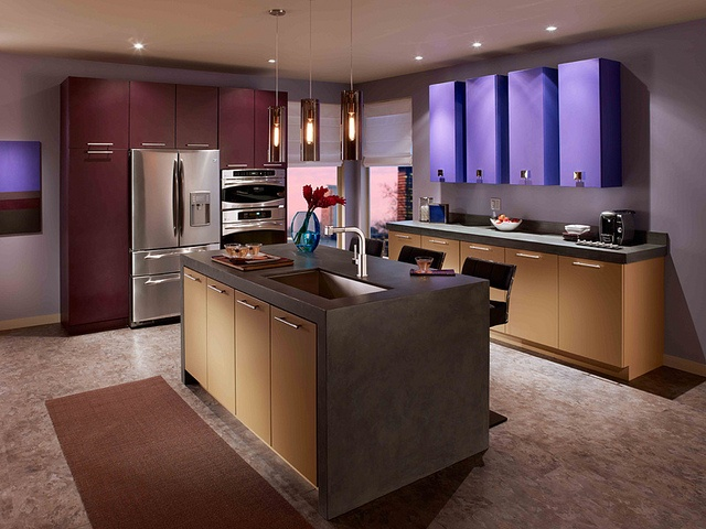 by behr paint color blocking makes its leap from the runways into the home in this sleek kitchen. Interior Design Ideas. Home Design Ideas