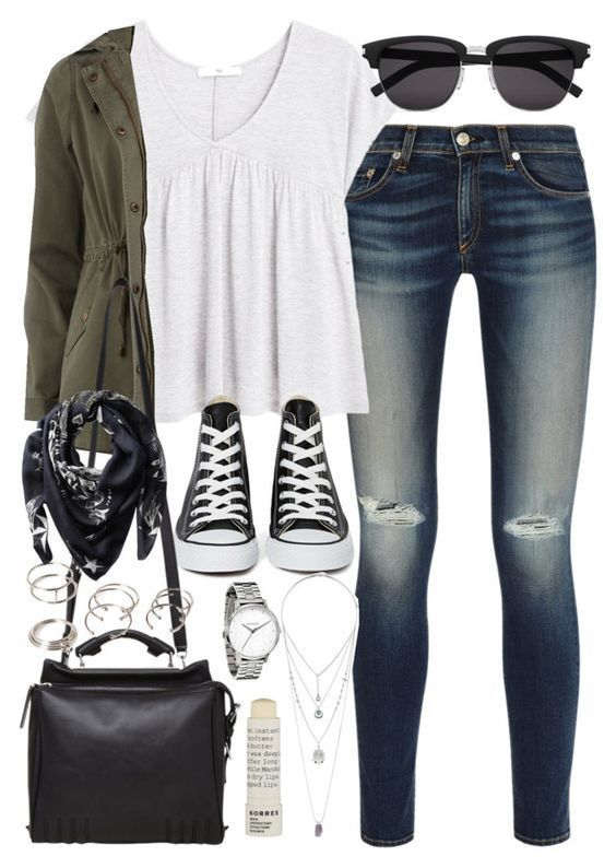 5 stylish college outfits with denim pants or shorts – School outfits for college jeans