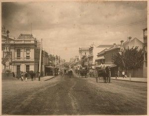 Looking south along Queen Street in Brisbane, ca. 1879. State Library of Queensland. Negative number: APU-049-0001-0026